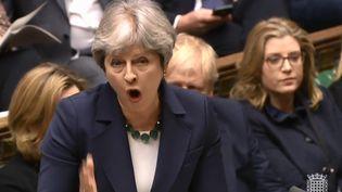 La Première ministre britannique,Theresa May, le 21 février 2018, à laChambre des communes à Londres. (HO / PRU / AFP)