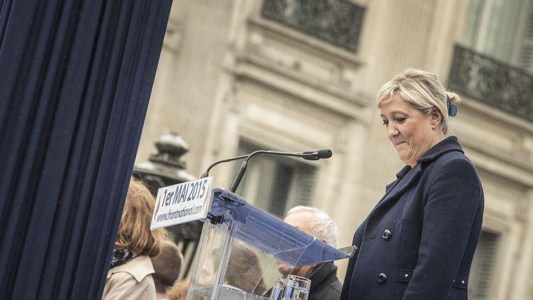 (Marine Le Pen lors du discours du 1er Mai à Paris. © Maxppp)