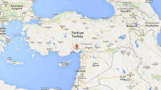 Deux ressortissants français, soupçonnés de vouloir rejoindreles rangs du groupe Etat islamique en Syrie, ont été arrêtés le 7 novembre 2015 dans la province d'Adana, dans le sud du pays. (GOOGLE MAPS / FRANCETV INFO)