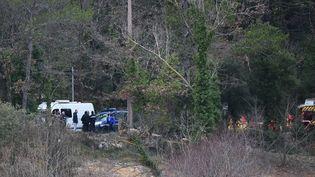 Des gendarmes et des pompiers, près du lieu où deux hélicoptères de l'armée sont entrés en collision vendredi 2 février 2018 non loin de Carcès (Var). (ANNE-CHRISTINE POUJOULAT / AFP)