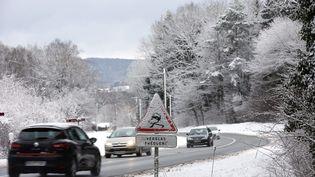 Voujeaucourt (Doubs) sous la neige le 14 janvier 2017. (MAXPPP)