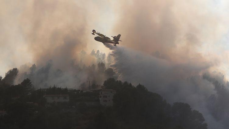 Un Canadair combat un incendie qui s'est déclaré, lundi 24 juillet, à Carros (Alpes-Maritimes). (VALERY HACHE / AFP)