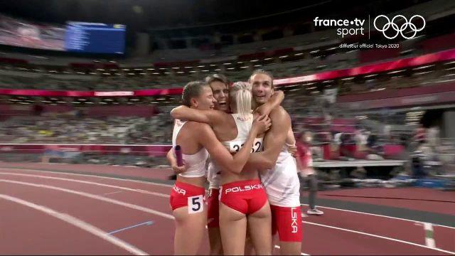 Les Polonais décrochent l'or au relais 4x400 m mixte. Une finale en 3:09:87, suffisant pour faire tomber le record olympique qui était de 03:10:44. Impressionnant