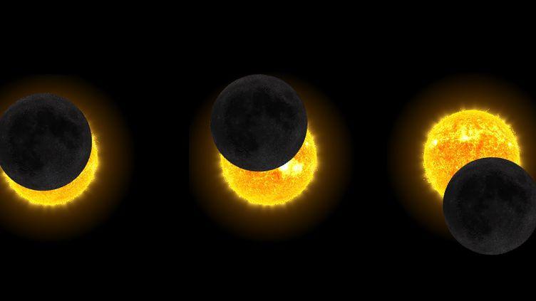 L'éclipse du 21 août 2017 telle qu'elle sera visible depuis la Guadeloupe, la Guyane et Saint-Pierre-et-Miquelon, d'après les simulations de la Nasa. (NASA / FRANCEINFO)