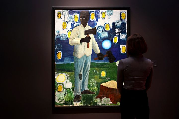 """""""Nat-Shango (Thunder)"""" de Kerry James Marshall chez Christie's le 7 mai 2021. (CINDY ORD / GETTY IMAGES NORTH AMERICA)"""