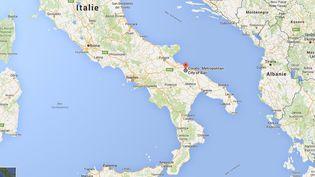 Corato, près de Bari, dans les Pouilles (Italie) où a eu lieu un accident mortel entre deux trains. (GOOGLE MAPS)