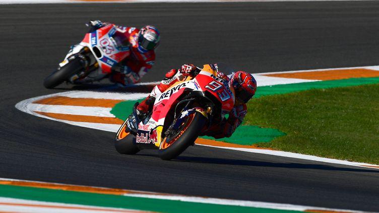 Marc Marquez (Honda) loin devant Andrea Dovizioso (Ducati)