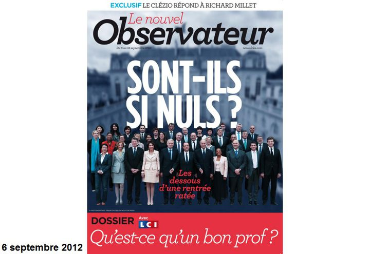 """Même """"Le Nouvel Observateur"""", classé à gauche, tombe dans le """"Hollande bashing"""". """"Sont-ils si nuls ?"""", s'interroge l'hebdomadaire à propos du chef de l'Etat et du gouvernement. (LE NOUVEL OBSERVATEUR)"""