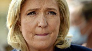 Marine Le Pen, présidente du Rassemblement national, lors d'un déplacement à Toul en Meurthe-et-Moselle le 9 juin 2021. (PHOTOPQR/L'EST REPUBLICAIN/MAXPPP)