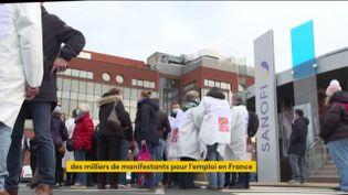 Manifestation devantun site de Sanofi (FRANCEINFO)