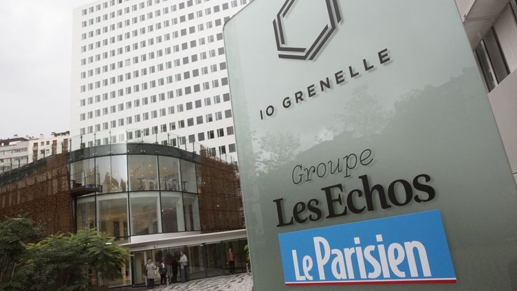 """Les locaux du groupe """"Les Echos / le Parisien"""", à Paris, le 17 septembre 2017. (MAXPPP)"""