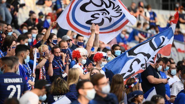 Les supporters français étaient de retour, mardi 8 juin, au Stade de France, pour le dernier match de préparation des Bleus avant le début de l'Euro, vendredi 11 juin. (FRANCK FIFE / AFP)