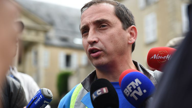 Le délégué CGT de l'entreprise GM&S,Vincent Labrousse. (GUILLAUME SOUVANT / AFP)