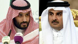 Le prince héritier d'Arabie saoudite, Mohamed ben Salmane, et l'émir du Qatar,cheikh Tamim ben Hamad Al-Thani, sur des photos prises en 2016 et 2015. (FAYEZ NURELDINE / AFP)