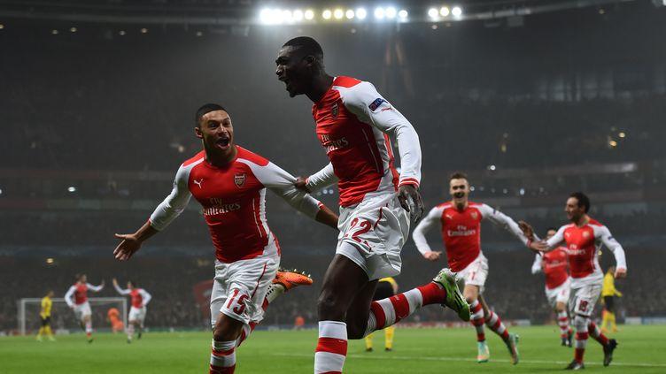 Yaya Sanogo exulte : les Gunners sont en 8e!  (BEN STANSALL / AFP)