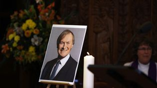 Une photo du député David Amess, àLeigh-on-Sea (Royaume-Uni), le 17 octobre 2021. (ADRIAN DENNIS / AFP)