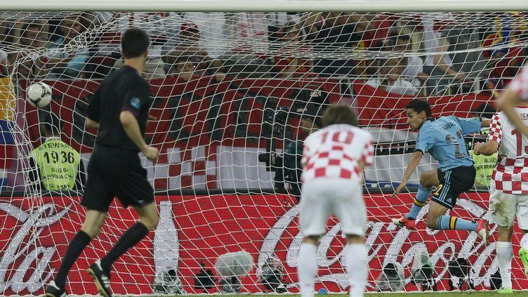 Jesus Navas a libéré l'Espagne grâce à ce but à la 88e minute inscrit face à la Croatie, le 18 juin 2012 à Gdansk (Pologne) (PASCAL LAUENER / REUTERS)
