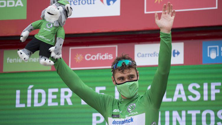 Le sprinter néerlandais Fabio Jakobsen a remporté sa troisième victoire d'étape sur la Vuelta à Santa Ceruz de Bedena, mardi 31 août 2021. (JORGE GUERRERO / AFP)