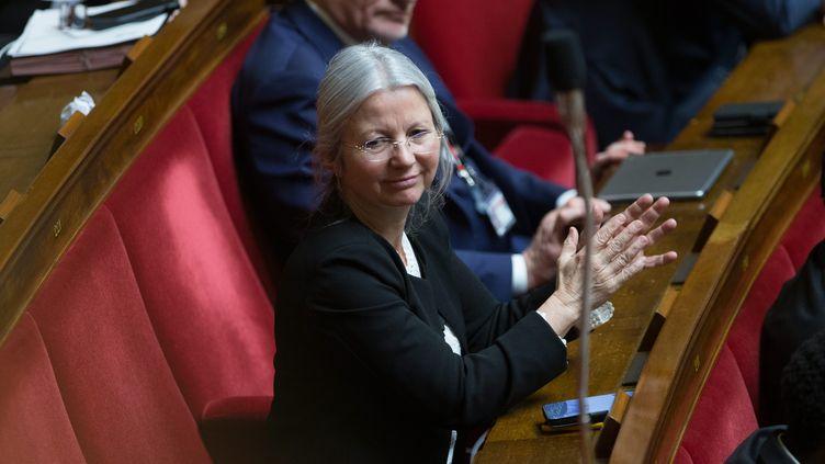 Agnès Thill dans l'hémicycle de l'Assemblée nationale à Paris, le 16 janvier 2018. (MAXPPP)