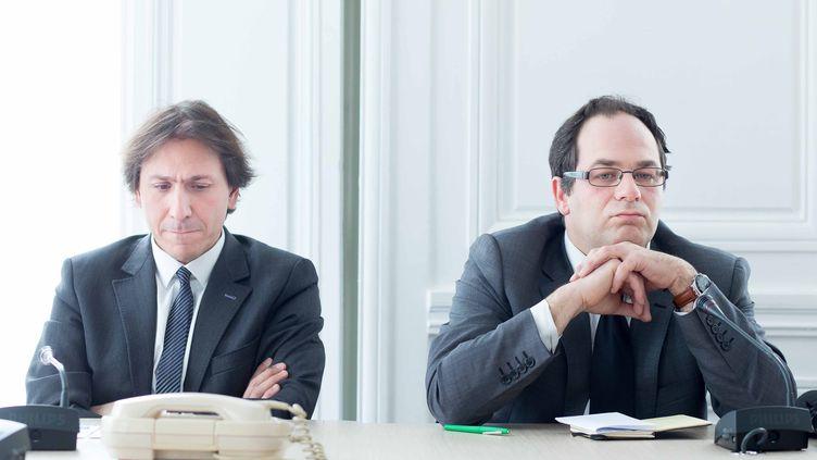 Le député PS Jérôme Guedj et le vice-président PS d'Ile-de-France Emmanuel Maurel, lors des vœux du courant Maintenant La Gauche, le 13 janvier à Paris. (MAXPPP)