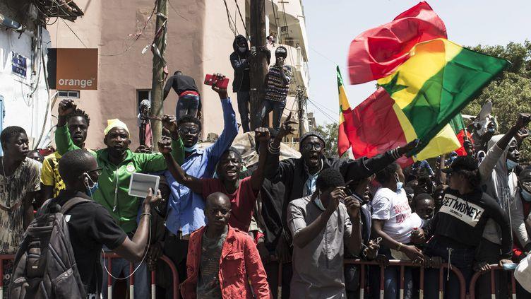 Lors de manifestation au Sénégal le 8 mars 2021. Photo d'illustration. (STEFAN KLEINOWITZ / MAXPPP)
