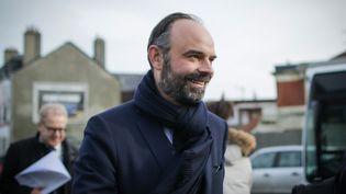 Le Premier ministre Edouard Phillippe en visite à Graville-la-Vallée, au Havre (Seine-Maritime) le 7 février 2020. (LOU BENOIST / AFP)