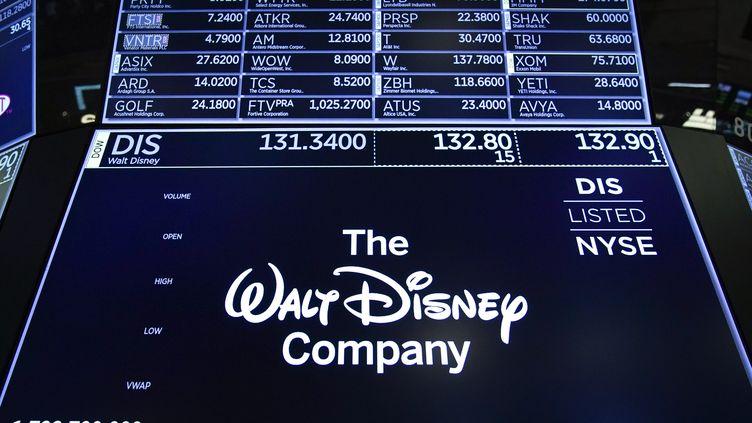 Un logo de la Walt Disney Company, le 14 mai 2019, à la bourse de New York . (DREW ANGERER / AFP)