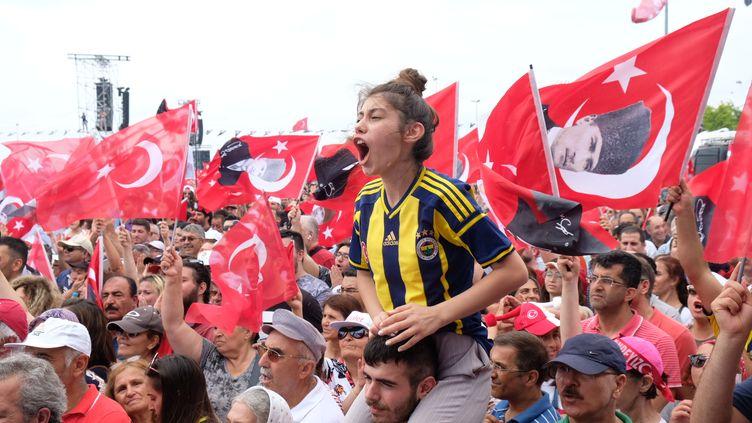 Des supporters du principal candidat de l'opposition, Muharrem Ince, lors d'un meeting à Istanbul (Turquie) samedi 23 juin 2018. (NATHANAËL CHARBONNIER / RADIO FRANCE)