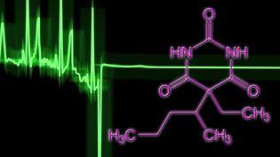 Image créée sur ordinateur pour illustrer un électrocardiogramme d'un coeur humain défaillant. La ligne plate indique l'arrêt cardiaque provoqué par la structure moléculaire du pentobarbital,un barbiturique utilisé en anesthésie et comme somnifère. (Illustration) (ALFRED PASIEKA / SCIENCE PHOTO LIBRARY RF / GETTY IMAGES)