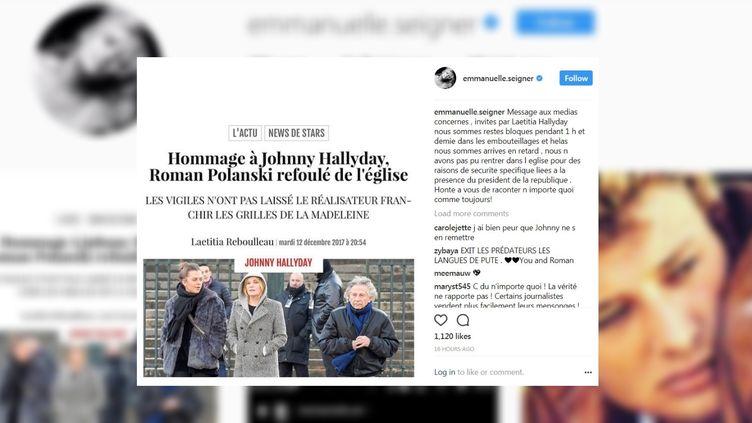 """Sur Instagram, Emmanuelle Seigner a démenti, le 12 décembre 2017, avoir été """"refoulée"""" de l'hommage à Johnny Hallyday. (EMMANUELLE SEIGNER / INSTAGRAM)"""