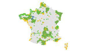 Carte des villes et départements où le masque est obligatoire. (FRANCEINFO)