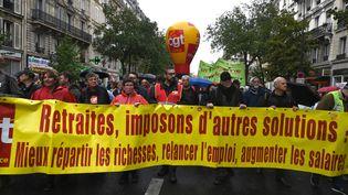 La CGT en tête du cortège parisien contre la réforme des retraites, le 24 septembre 2019. (DOMINIQUE FAGET / AFP)