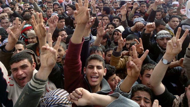 Des manifestants protestent contre le gouvernement le 1er février 2013 à Kirkouk (Irak). (MARWAN IBRAHIM / AFP)