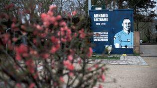 Une fresque en hommage au colonel Arnaud Beltrame, le 28 mars 2018 à Port-Marly (Yvelines). (NICOLAS MESSYASZ / SIPA)