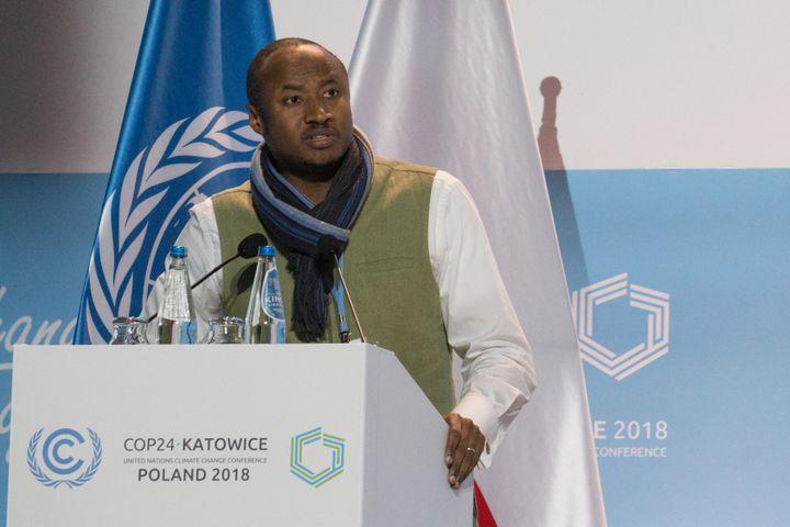 Le porte-parole du groupe Afrique, Seyni Nafo, le 10 décembre 2018 lors de la COP24 à Katowice, en Pologne. (JAMES DOWSON/CCNUCC)