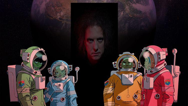 """Détail du visuel de la chanson """"Strange Timez"""" de Gorillaz avec Robert Smith de The Cure en invité. (GORILLAZ)"""