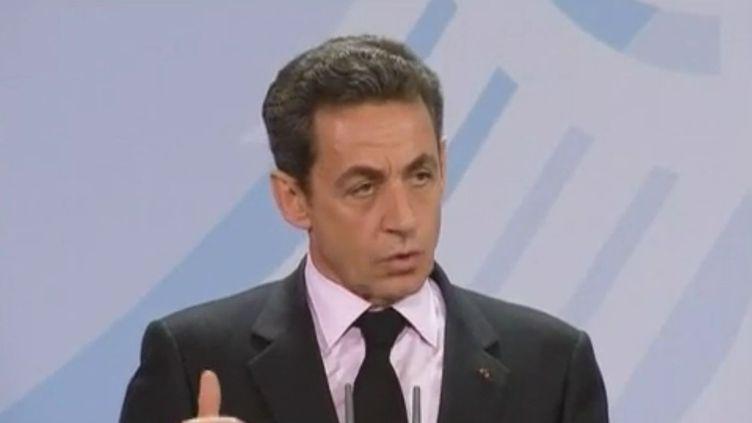 Le président Nicolas Sarkozy à Berlin (Allemagne), le 9 janvier 2012. (REUTERS)