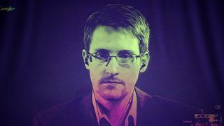 Edward Snowden lors d'une vidéoconférence organiséeà Strasbourg (Bas-Rhin), au Conseil de l'Europe, le 24 juin 2014. (FREDERICK FLORIN / AFP)