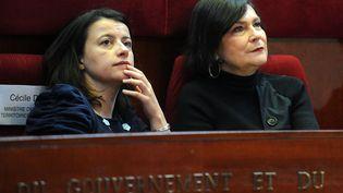La ministre du Logement, Cécile Duflot (G), et la ministre en charge des Personnes handicapées, Marie-Arlette Carlotti, le 11 décembre 2012 à Paris. (ANTOINE ANTONIOL / SIPA)