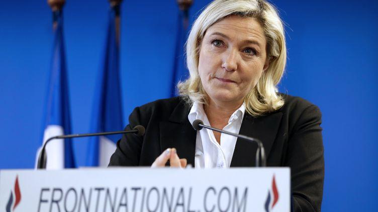 La présidente du Front national, Marine Le Pen, lors d'une conférence de presse au siège du parti, à Nanterre (Hauts-de-Seine), le 7 janvier 2014. (THOMAS SAMSON / AFP)