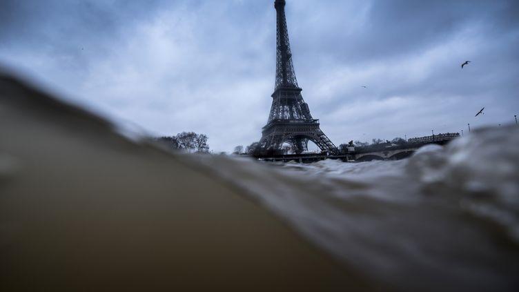La crue de la Seine, le 7 janvier 2018 à Paris. (OLIVIER MORIN / AFP)