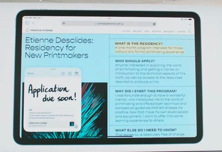 En bas à gauche une QuickNote ouverte sur une page Safari. (APPLE)