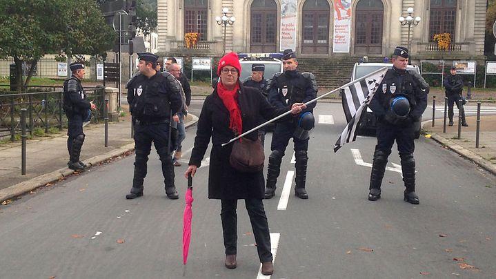 """Anne, """"Bonnet rouge"""" de Quimper (Finistère), lors de la manifestation du 2 novembre 2013. (FRANCETV INFO )"""
