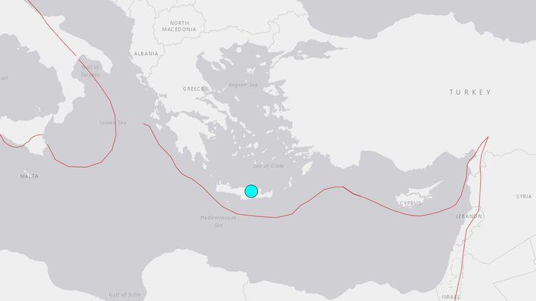 Un séisme de magnitude 5,8 a secoué la Crète, le 27 septembre 2021. (CAPTURE ECRAN USGS)
