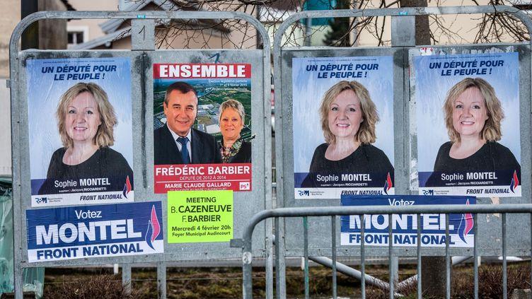 Des affiches pour la frontiste Sophie Montel et le socialiste Frédéric Barbier, candidats à la législative partielle dans la 4e circonscription du Doubs, le 3 février 2015. (AFP)