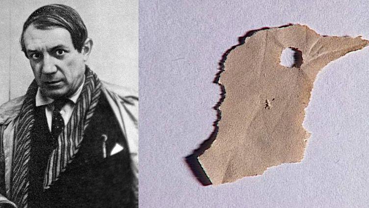 """Pablo Picasso en 1921 et """"Tête d'oiseau"""" de Pablo Picasso, papier déchiré, Musée national Picasso-Paris, Achat par préemption en 1998  (A gauche © Zaritovskiy Yuriy / Sputnik /AFP - A droite © Succession Picasso 2018)"""