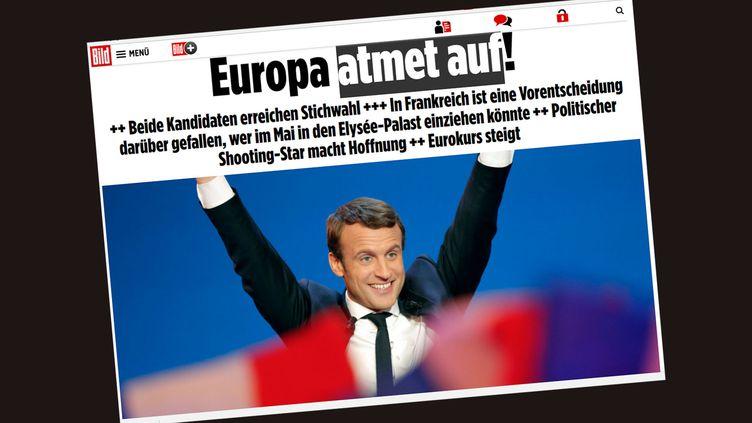 A la une du site du journal allemand Bild, au lendemain du premier tour de l'élection présidentielle en France. (RADIO FRANCE / CAPTURE D'ECRAN)