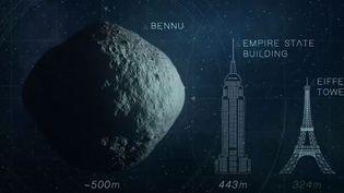 300 000 kilomètres au-dessus de nos têtes, le robot Osiris-Rex de la Nasa va tenter de s'approcher de l'astéroïde Bennu pour lui prélever de la poussière, qui pourrait contenir des secrets sur l'origine de la Terre. (FRANCE 3)
