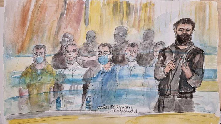 L'accusé Salah Abdeslam, le 15 septembre 2021. (ELISABETH DE POURQUERY / FRANCEINFO)