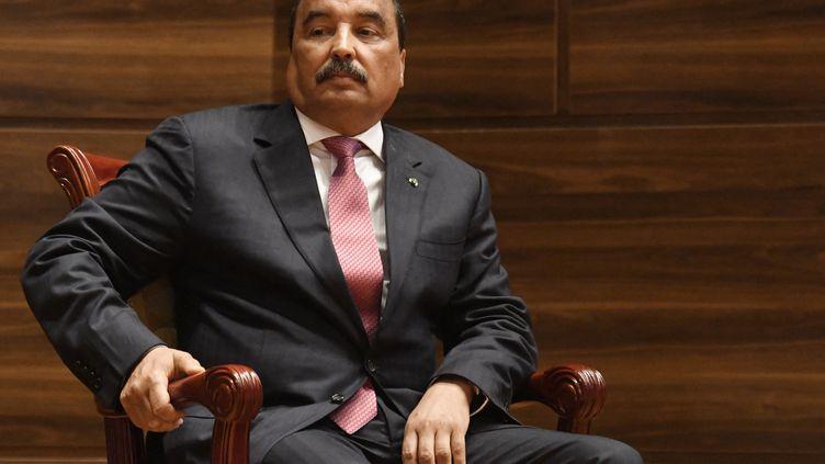 L'ancien président mauritanien, Mohamed Ould Abdel Aziz, lors de l'investiture de son dauphin, le 1er août 2019 à Nouakchott. (SEYLLOU / AFP)